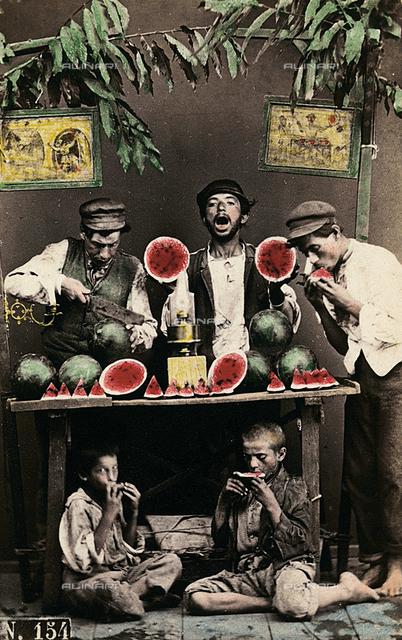 Naples.  Watermelon sellers.