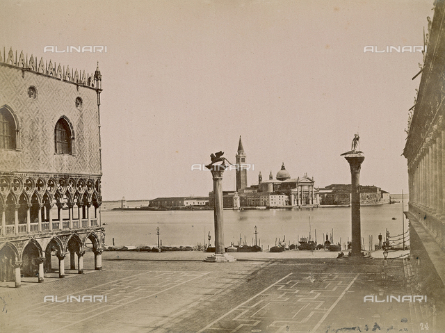 View of the Piazzetta San Marco in Venice, bounded by the Palazzo Ducale and the Libreria Marciana; in the background, the Church of San Giorgio Maggiore