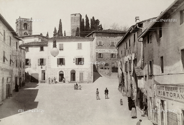 View with people of the square of Montecatini Val Di Nievole (commonly known as Montecatini Alto)