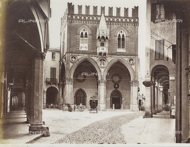The Palazzo della Mercanzia in Bologna, called Loggia dei Mercanti or Palazzo del Carrobbio, Bologna