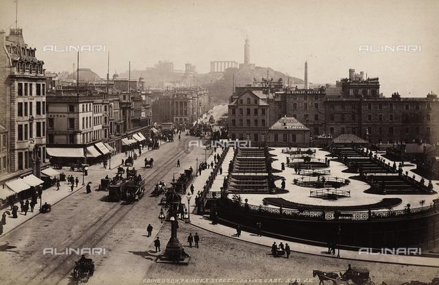 View of Princes Street with wide garden, in Edinburgh