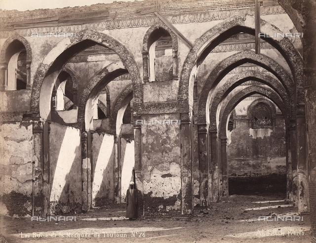 Interior of the Mosque of Ibn Tulin, example of Abbasid architecture. The mosque was built between 876 and 879