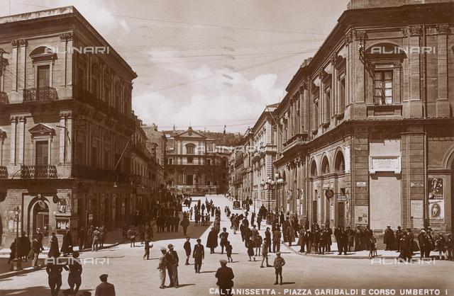 Caltanissetta, Piazza Garibaldi and Corso Umberto I, postcard