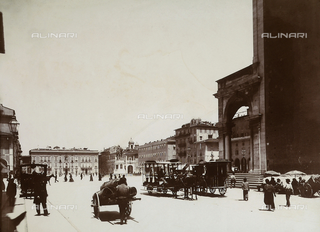 View with people of the Vittorio Emanuele II square in Livorno