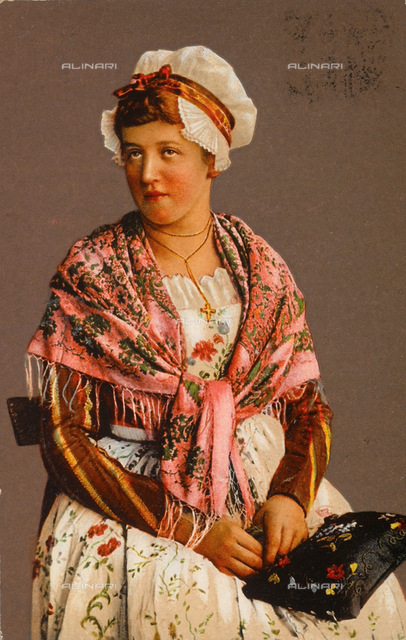 Female portrait in traditional dress from the city of Neuchàtel