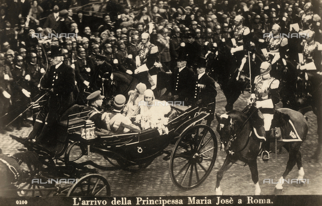 The arrival of the Princess Maria Josè to Rome on the occasion of his marriage with Umberto di Savoia