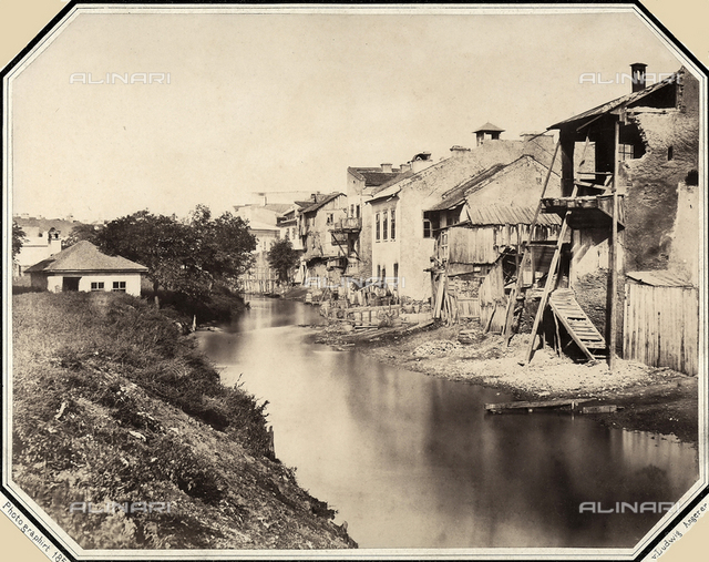 Houses along a canal of Bucharest