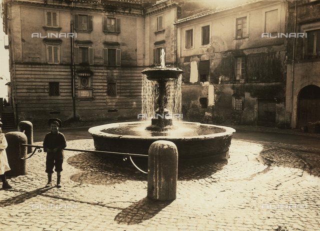 Piazza with fountain at Ariccia, Rome