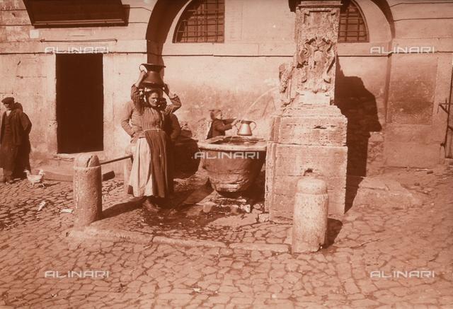Women near a fountain, Genzano, Rome