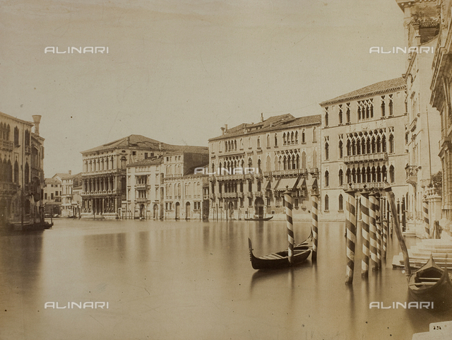View of the Grand Canal in Venice, with the faà§ades of Ca' Foscari, Palazzo Giustinian and Ca' Rezzonico