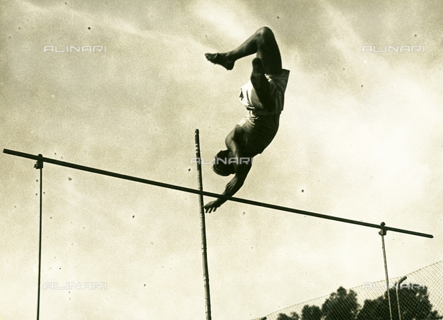 Athlete pole-vaulting