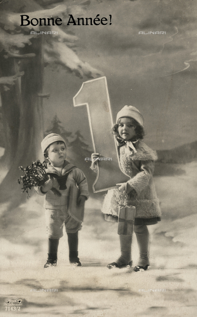 Happy New Year: children posing with a number one