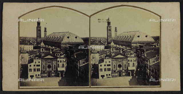 View of Padua with the Palazzo della Ragione; Stereoscopic photography