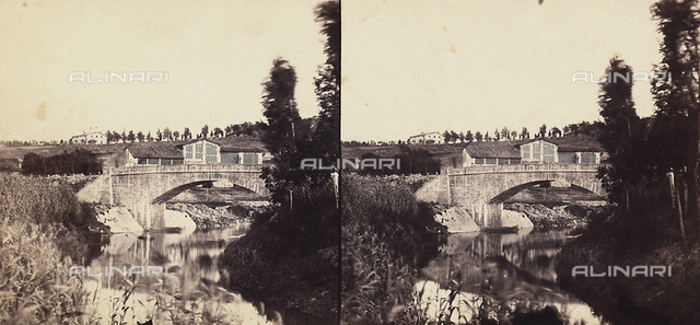 Bridge over the Sieve river.  Stereoscopic photograph