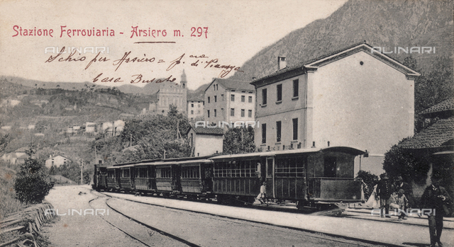 Train leaving Arisero station, province of Vicenza