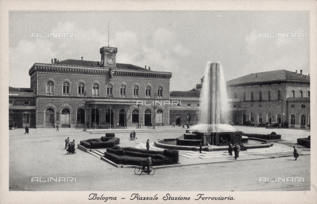 The fountain in the piazza of Bologna station