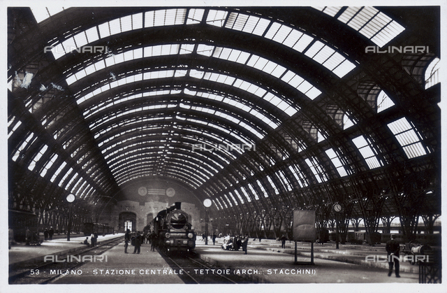 Central train station in Milan, designed by Ulisse Stacchini.