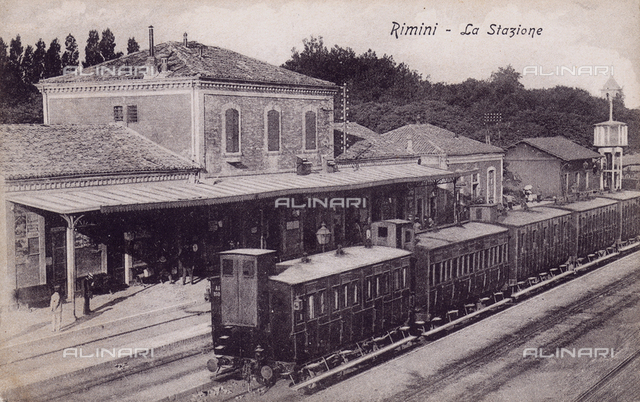 A train on the tracks of the railway station of Rimini