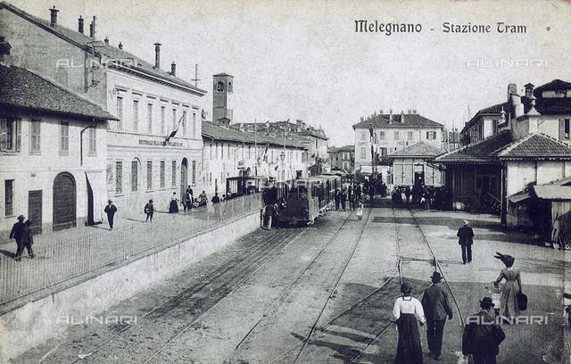 Tram station of Melegnano, Milan