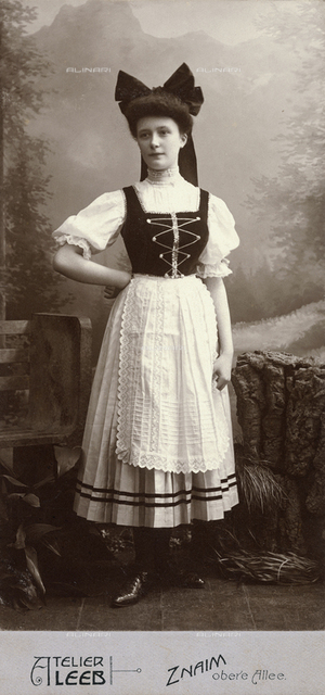 Portrait of a woman in traditional Austrian clothing