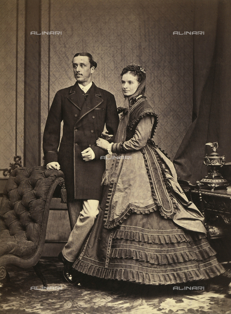Portrait of a couple in elegant clothes of the epoch