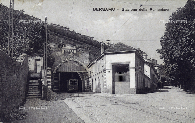 The station of the Funicular in Bergamo