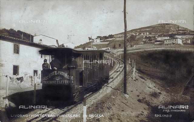 Descent of the funicular of Montenero, Livorno