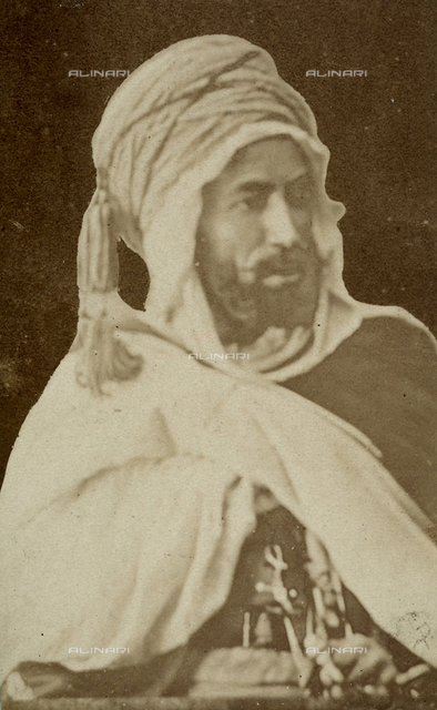 Portrait of an Algerian, tribe chief.