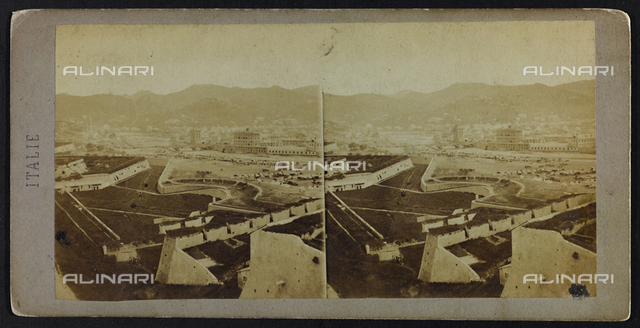View of Genoa and of the Bisagno creek from the fortifications with, in the distance, the tents of French hunters camped along the creek; Stereoscopic photograph