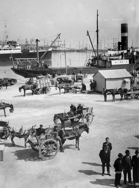 View of Palermo's harbour. In the foreground, a typical Sicilian cart.