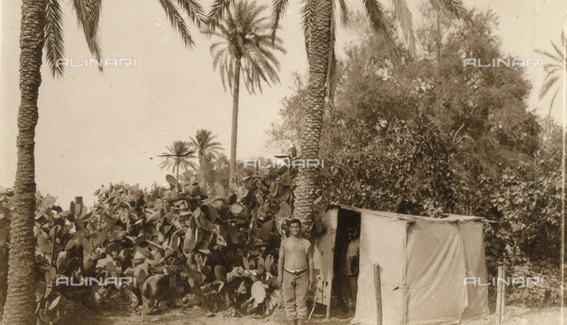 Italo-Turkish War (also known as the war in Libya or Libyan campaign): Italian camp tent