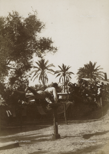 Italo-Turkish War (also known as the war in Libya or Libyan campaign): Italian soldier during a gymnastic exercise