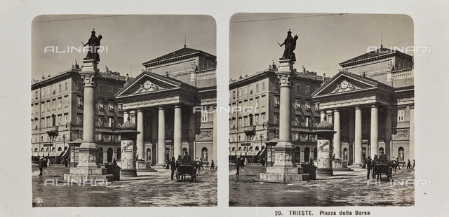 Place de la Bourse with the Palace of the Chamber of Commerce (formerly Old Stock Exchange Building) and the column with the statue of Leopold I in Trieste. Stereoscopic image