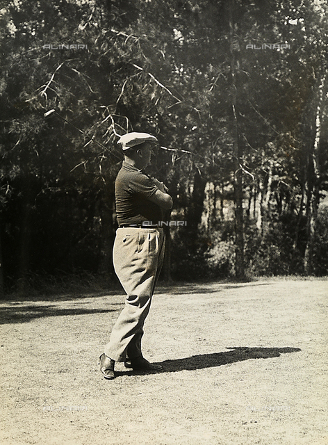 The golfer R. Le Quellec photographed during a shot