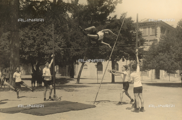Athletic jumping exercises at an infantry military school