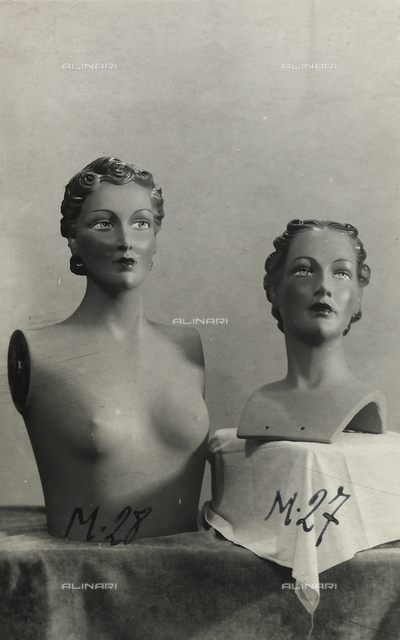 "Mannequins of the ""Rosa manichini artistici-Milano"" company. Two busts of female mannequins"