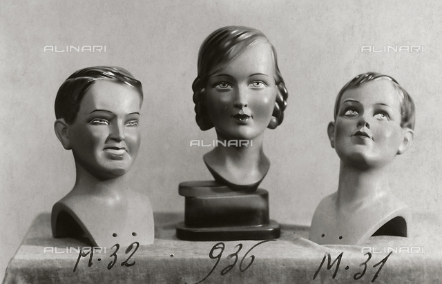 """Mannequins of the """"Rosa manichini artistici-Milano"""" company. Three heads of mannequins"""