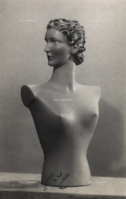 """Mannequins of the """"Rosa manichini artistici-Milano"""" company. Bust of a female mannequin"""