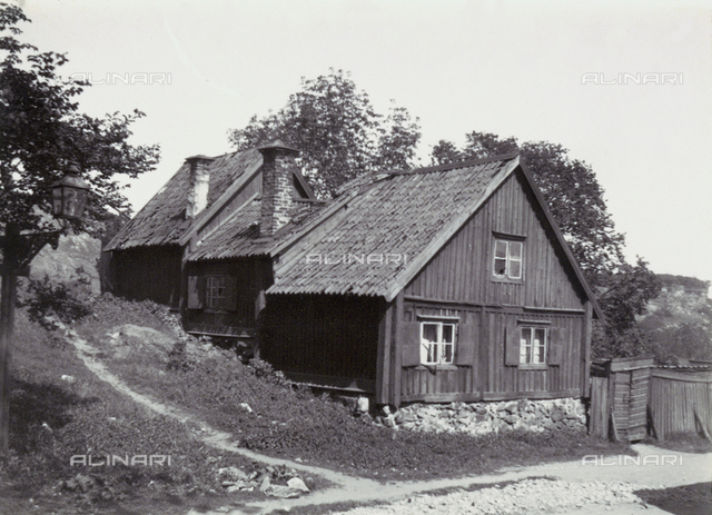 Typical wooden residences in a city in Norway