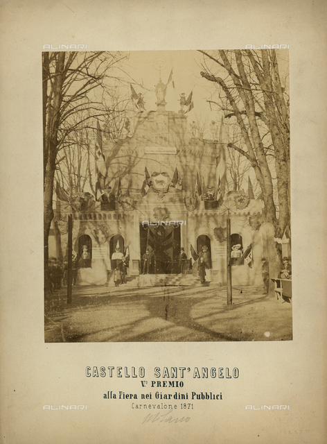 Castel Sant'Angelo with decorations during the Carnival Festival in 1871, Rome