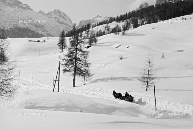 View of snowy landscape, Cortina d'Ampezzo