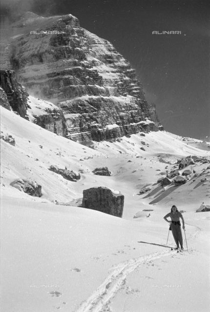 Portrait of woman on snow, Cortina d'Ampezzo