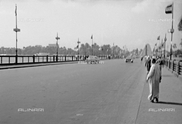 View of a bridge over the Nile, Cairo