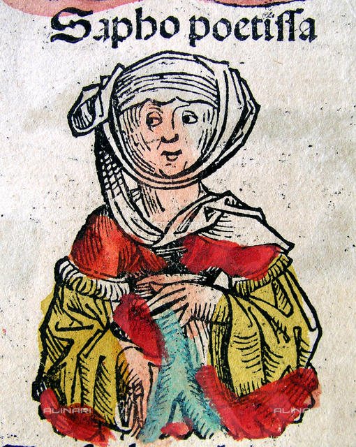 """1493, GERMANY:  The greek woman poet SAPPHO (630 and 612 BC - 570 BC). Fantasy portrait illustration from the Cap. LXXI of book""""Nuremberg Chronicle"""", an illustrated world history that follows the story of human history related in the Bible; it includes the histories of a number of important Western cities. Written in Latin by Hartmann Schedel, with a version in German translation by Georg Alt, it appeared in 1493. It is one of the best-documented early printed books - an incunabulum (printed, not hand-written) - and one of the first to successfully integrate illustrations and text. Latin scholars refer to it as Liber Chronicarum (Book of Chronicles) as this phrase appears in the index introduction of the Latin edition. English speakers have long referred to it as the Nuremberg Chronicle after the city in which it was published. German speakers refer to it as Die Schedelsche Weltchronik (Schedel's World History) in honour of its author. The illustrations in many copies were hand-coloured after printing"""