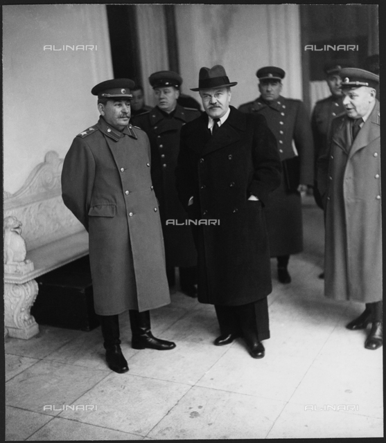 1945, february 1945, YALTA, CRIMEA, RUSSIA :he Yalta Conference, sometimes called the Crimea Conference and codenamed the Argonaut Conference, held February 411, 1945, was the World War II meeting of the heads of government of the United States, the United Kingdom, and the Soviet Union, represented by President Franklin D. Roosevelt (1882 - 1945), Prime Minister Winston Churchill (1874 - 1965) and General Secretary Joseph Stalin (1879 - 1953), respectively, for the purpose of discussing Europe's post-war reorganization. The conference convened in the Livadia Palace near Yalta, in the Crimea. In this photo STALIN with VYACHESLAV MOLOTOV (1890 - 1986)