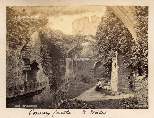 1880 ca, NORTH WALES, GREAT BRITAIN : View of CONWY CASTLE. It was built by Edward I, during his conquest of Wales, between 1283 and 1289.