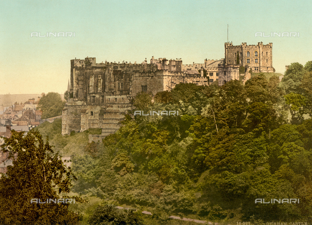 1900 ca, DURHAM, ENGLAND, GREAT BRITAIN : The DURHAM CASTLE. Near the CATHEDRAL Church of Christ, Blessed Mary the Virgin and St Cuthbert of Durham, the seat of the Anglican Bishop of Durham. The Bishopric dates from 995, with the present cathedral being founded in AD 1093. The cathedral is regarded as one of the finest examples of Norman architecture and has been designated a UNESCO World Heritage Site along with nearby Durham Castle, which faces it across Palace Green on a promontory high above the River Wear. Durham Castle was built as the residence for the Bishop of Durham.