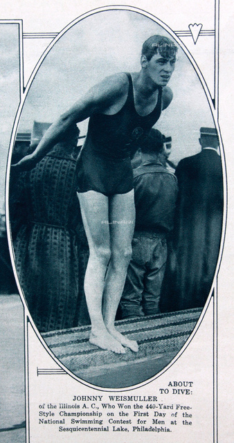 1926, july, USA : The celebrated swimmer and movie actor JOHNNY WEISSMULLER (Chicago 1904 - Acapulco, Mexico 1984) at National Swimming Contest for Men at the Sesquicentennial Lake (Philadelphia) won the 440-Yard Free-Style Championship on the first day. Photo from the illustrated magazine MID-WEEK PICTORIAL, 5 august 1926 (New York, USA). From 1933 the famous actor in TARZAN, THE APE MAN by W. S. Van Dyke. Before her TARZAN role was 5 times Olimpian champion for swimming (3 golden medals in Paris 1924 and 2 in Amsterdam 1928), for 51 times world records of his category