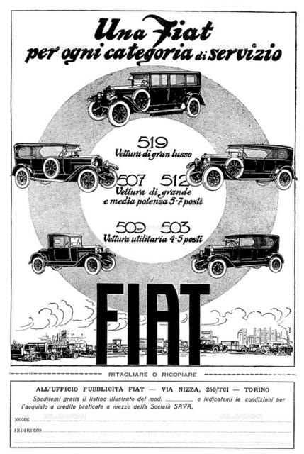1926, ITALY : The italian car industry FIAT (F.I.A.T. Fabbrica Italiana Automobili Torino) advertising for FIAT 509, 503, 507, 512 and 519 models