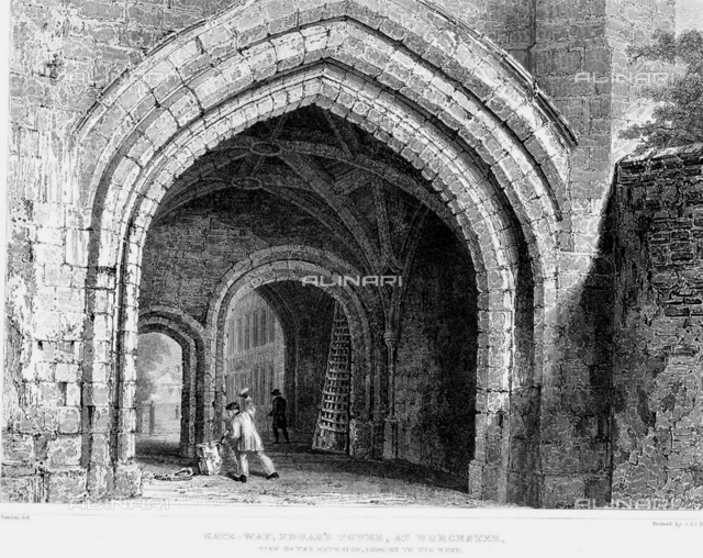 1860 ca, WORCESTER CASTLE, West Midlands of England, GREAT BRITAIN : View of the gate-way of EDGAR's TOWER of WORCESTER CASTLE, engraving from an artwork by W.H. Bartlett. Was a Norman fortification built between 1068 and 1069 in Worcester, England by Urse d'Abetot on behalf of William the Conqueror.